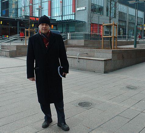 Ville Saarikoski, outside Kamppi, Helsinki