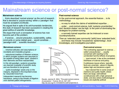 Mainstream science or post-normal science?