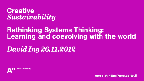Rehinking Systems Thinking