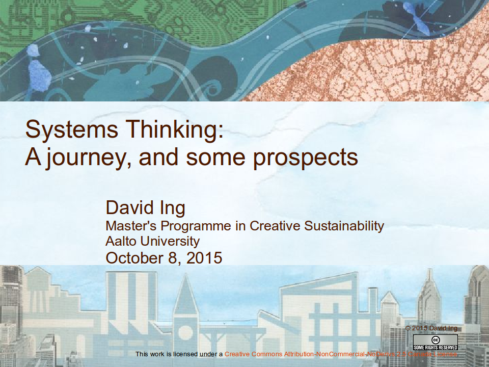 Systems Thinking: A journey, and some prospects