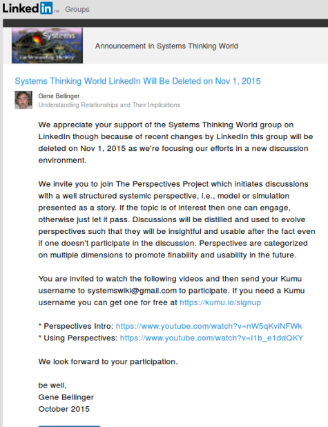 Systems Thinking World LinkedIn Will Be Deleted on Nov. 1, 2015