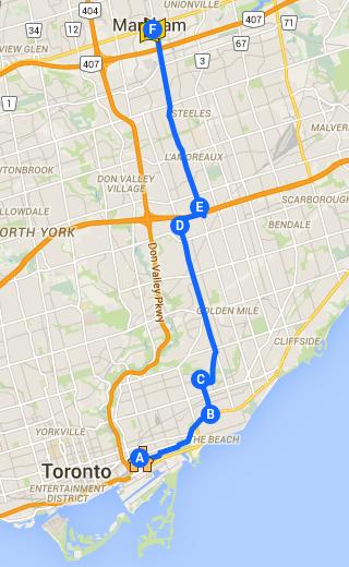 Toronto Riverside to Markham