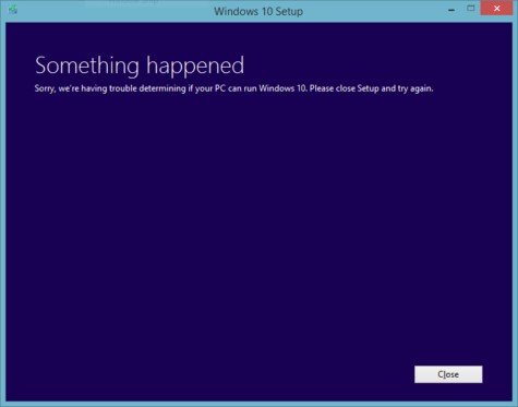 Something happened determining if your PC can run Windows 10