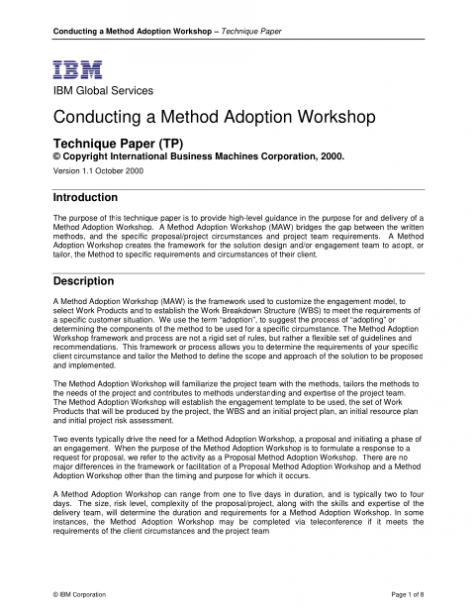 Technique Paper: Conducting a Method Adoption Workshop