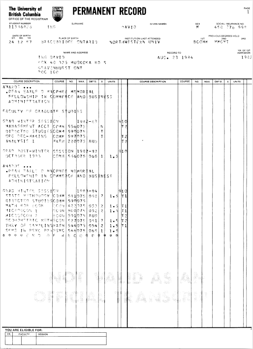 University of British Columbia, Permanent Record, David Ing, August 1984