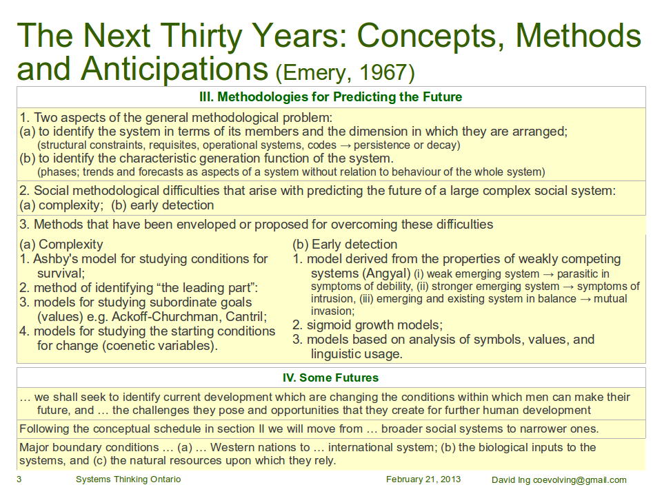 III. Methodologies for Predicting the Future